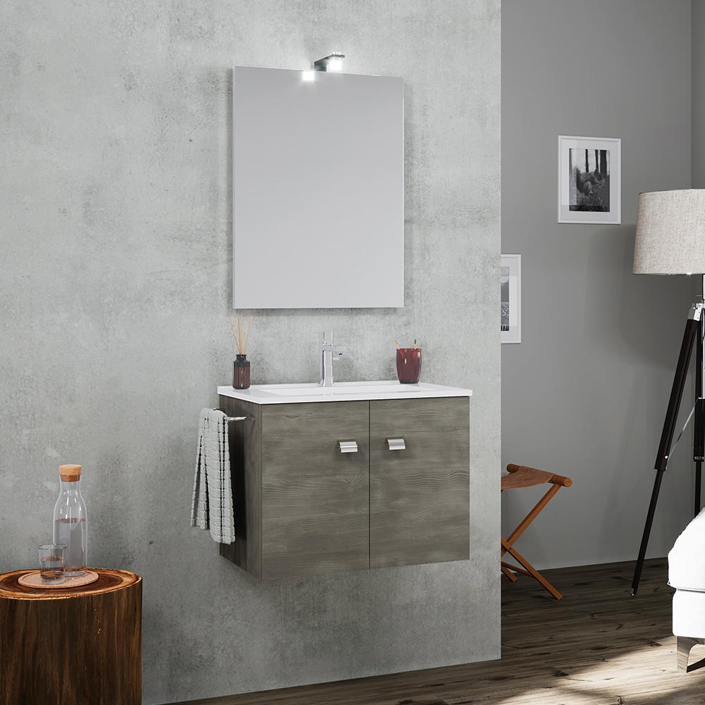 Mobile bagno base sospesa 2 ante porta asciugamani lavabo ceramica specchio lampada LED Vanern Noir