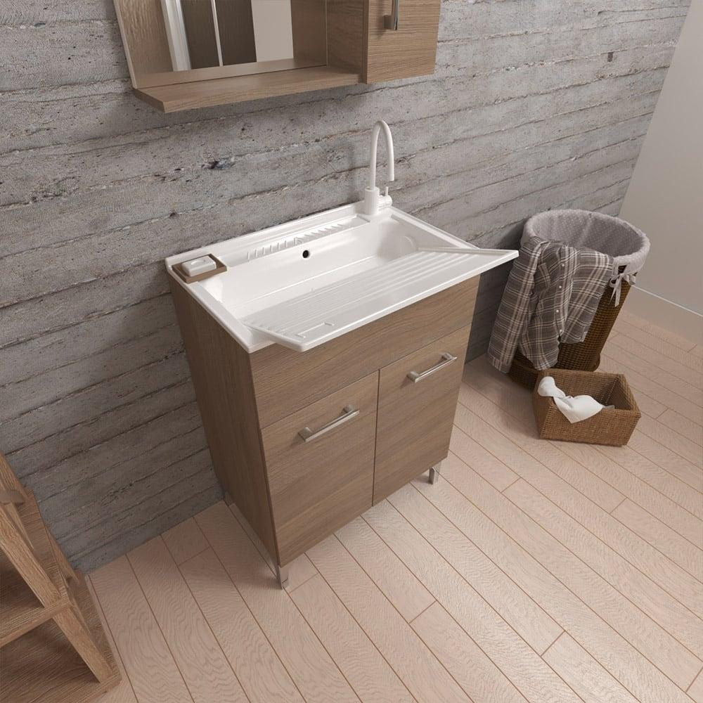 Lavatoio con lavabo asse lavapanni mobile 2 ante 60x50 cm Hornavan Oak
