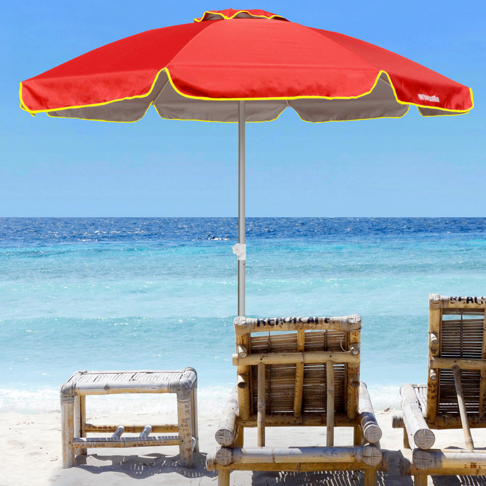 miniature 14 - Parasol de plage 220 cm aluminium coupe-vent professionnel UV protection Bagnino