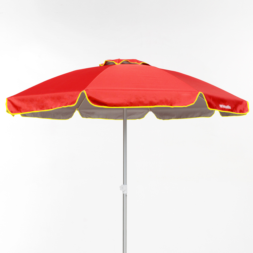 miniature 15 - Parasol de plage 220 cm aluminium coupe-vent professionnel UV protection Bagnino