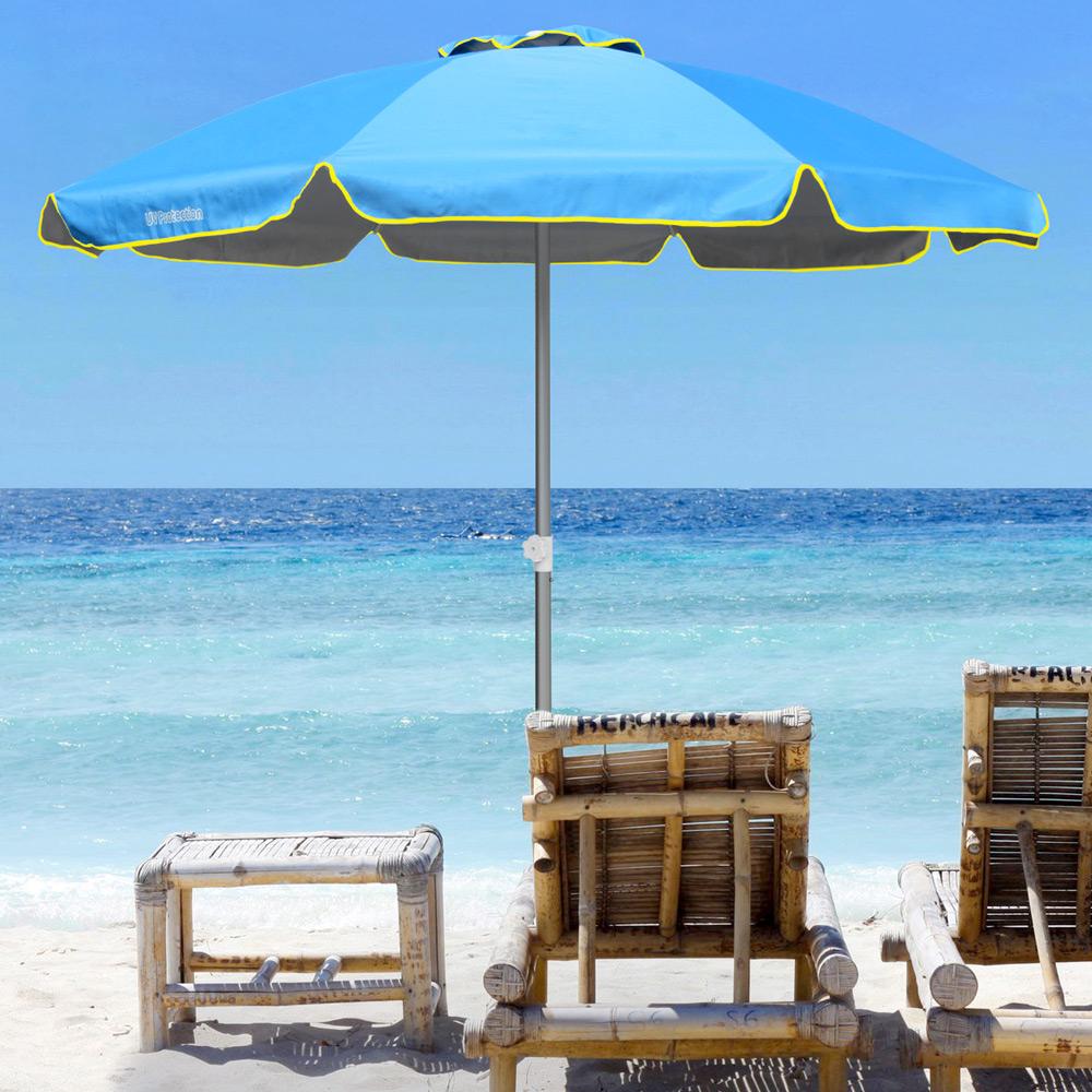 miniature 28 - Parasol de plage 220 cm aluminium coupe-vent professionnel UV protection Bagnino
