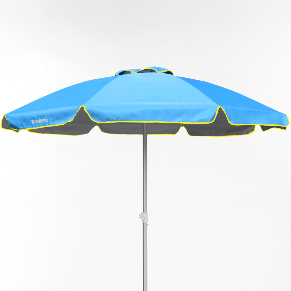miniature 29 - Parasol de plage 220 cm aluminium coupe-vent professionnel UV protection Bagnino