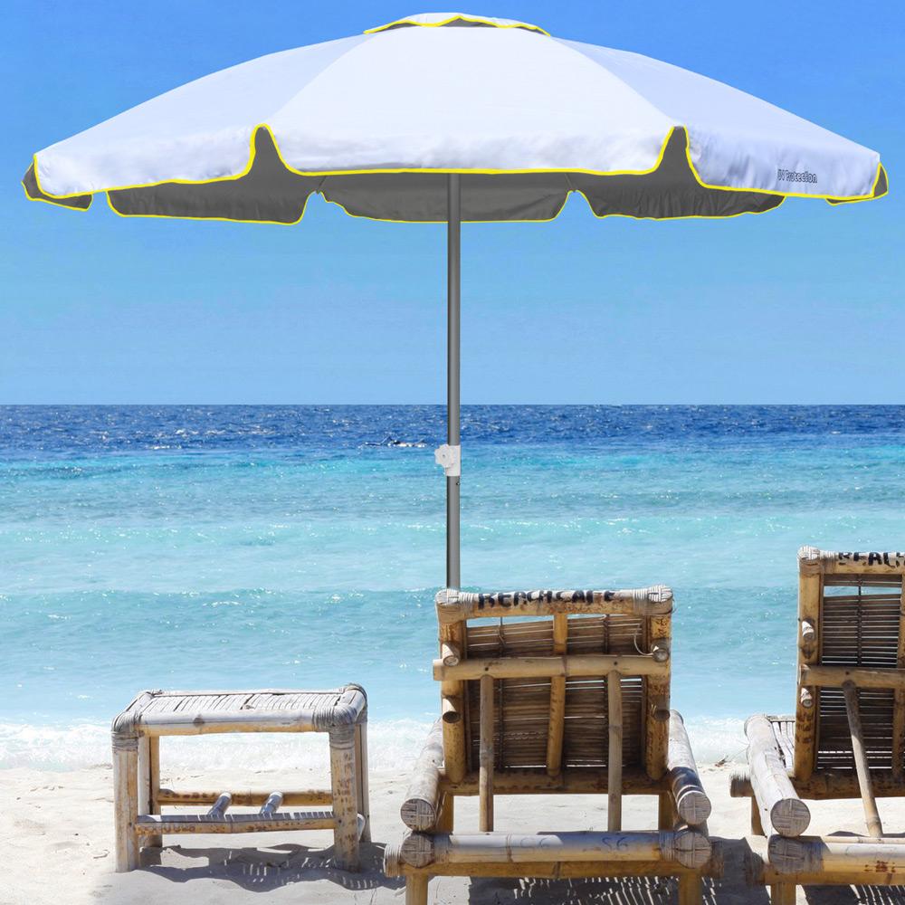 miniature 35 - Parasol de plage 220 cm aluminium coupe-vent professionnel UV protection Bagnino