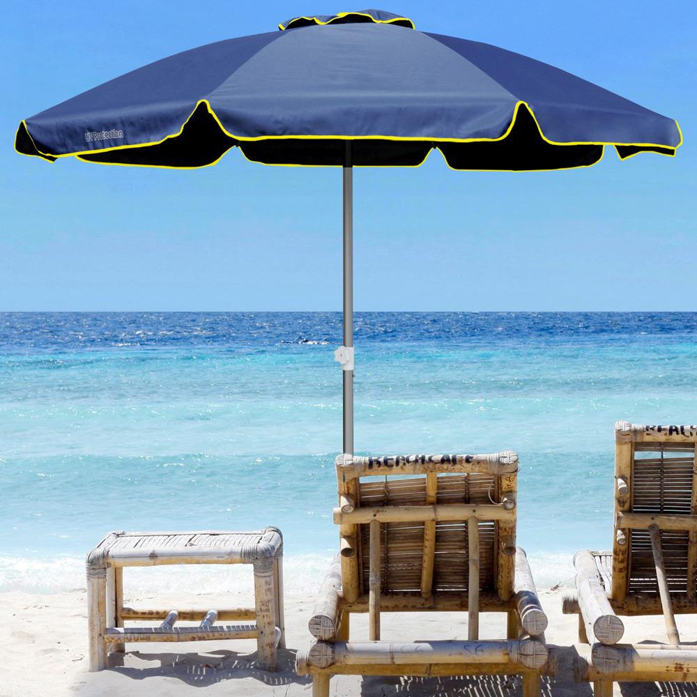 miniature 21 - Parasol de plage 220 cm aluminium coupe-vent professionnel UV protection Bagnino