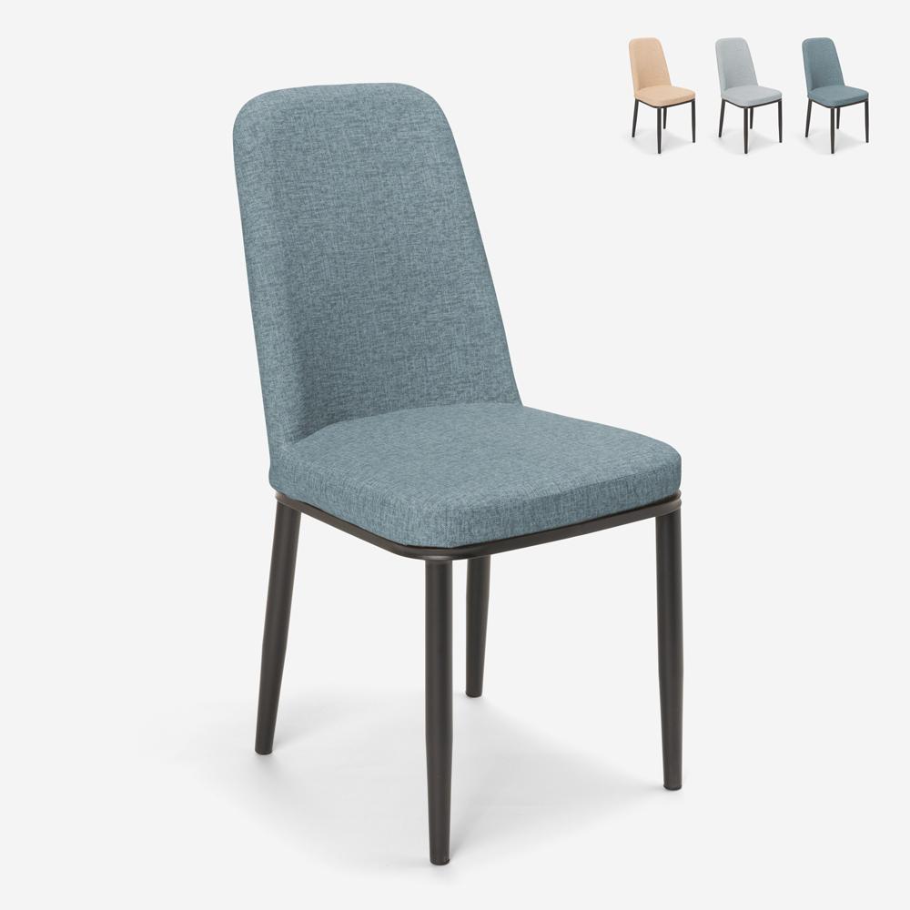 Sedie design per cucina bar ristorante tessuto e metallo effetto legno Davos Dark