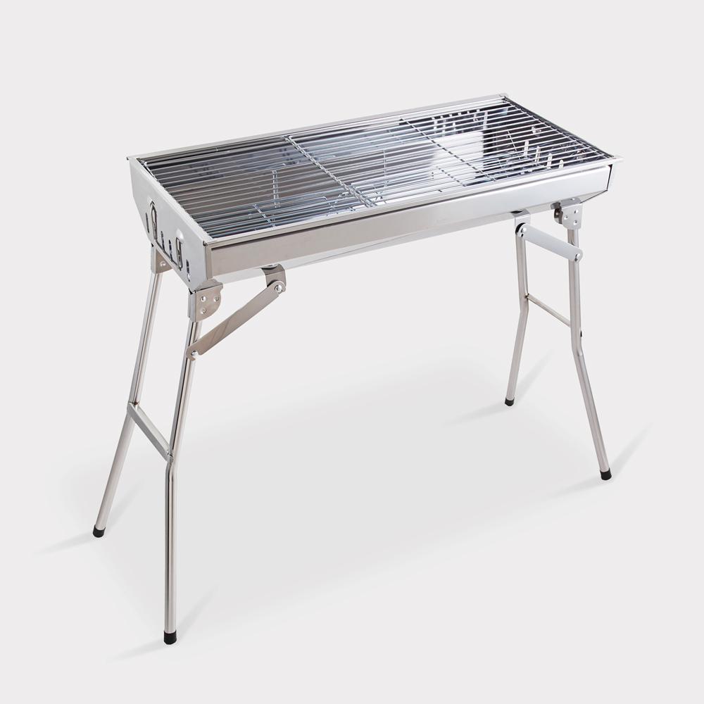 Barbecue griglia acciaio portatile pieghevole BBQ carbonella giardino campeggio Ash