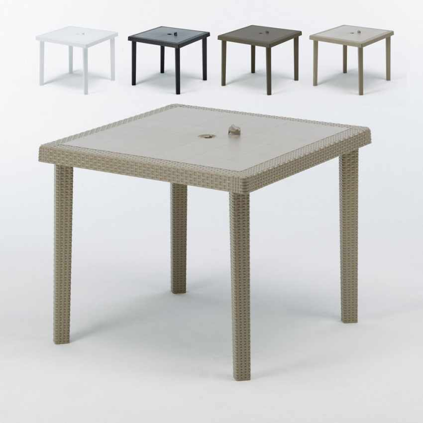 Tavoli Di Plastica Quadrati.Tavolo Bar Giardino Poly Rattan Quadrato 90x90 Grand Soleil Boheme