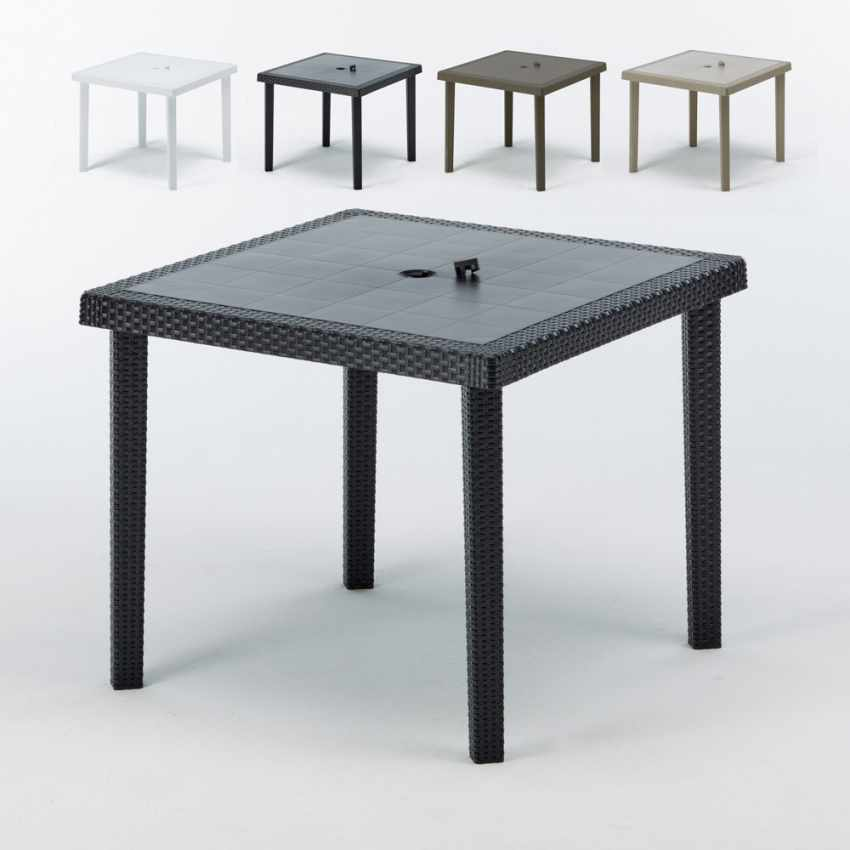 12 Tavoli bar poly rattan quadrati 90x90 Grand Soleil BOHEME - scontato