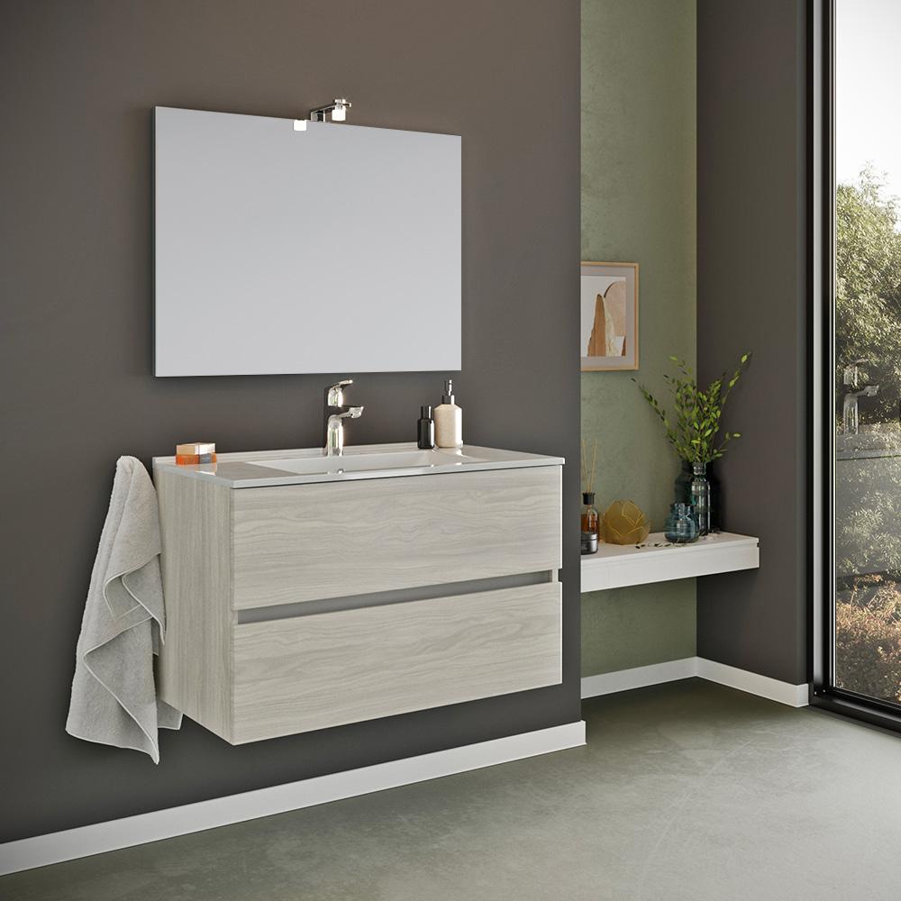 Mobile da bagno base sospesa 2 cassetti specchio 80x60 cm lampada LED lavabo ceramica Kallsjon Gris