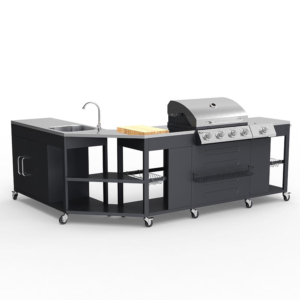 Barbecue BBQ angolare gas acciaio inox 4+1 bruciatori cremagliera lavello Mustard