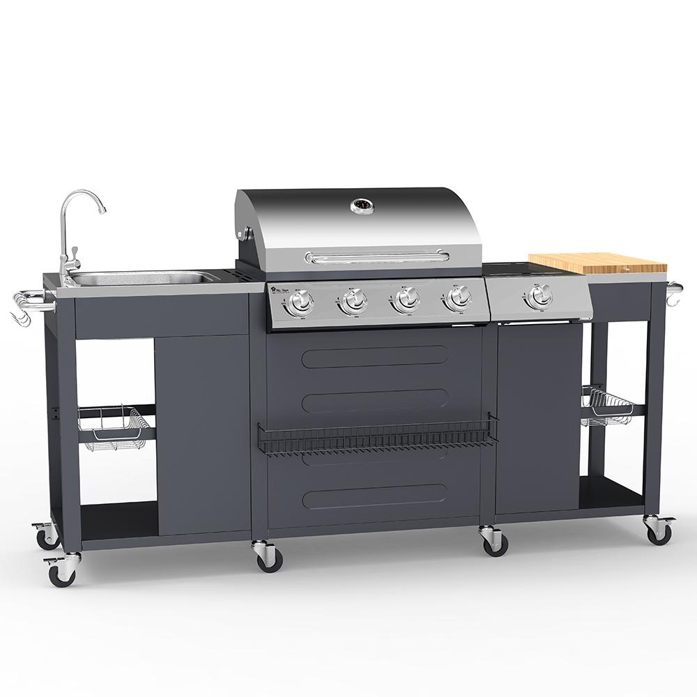 Barbecue gas acciaio inox BBQ 4+1 bruciatori lavello ripiani cremagliera Tartara