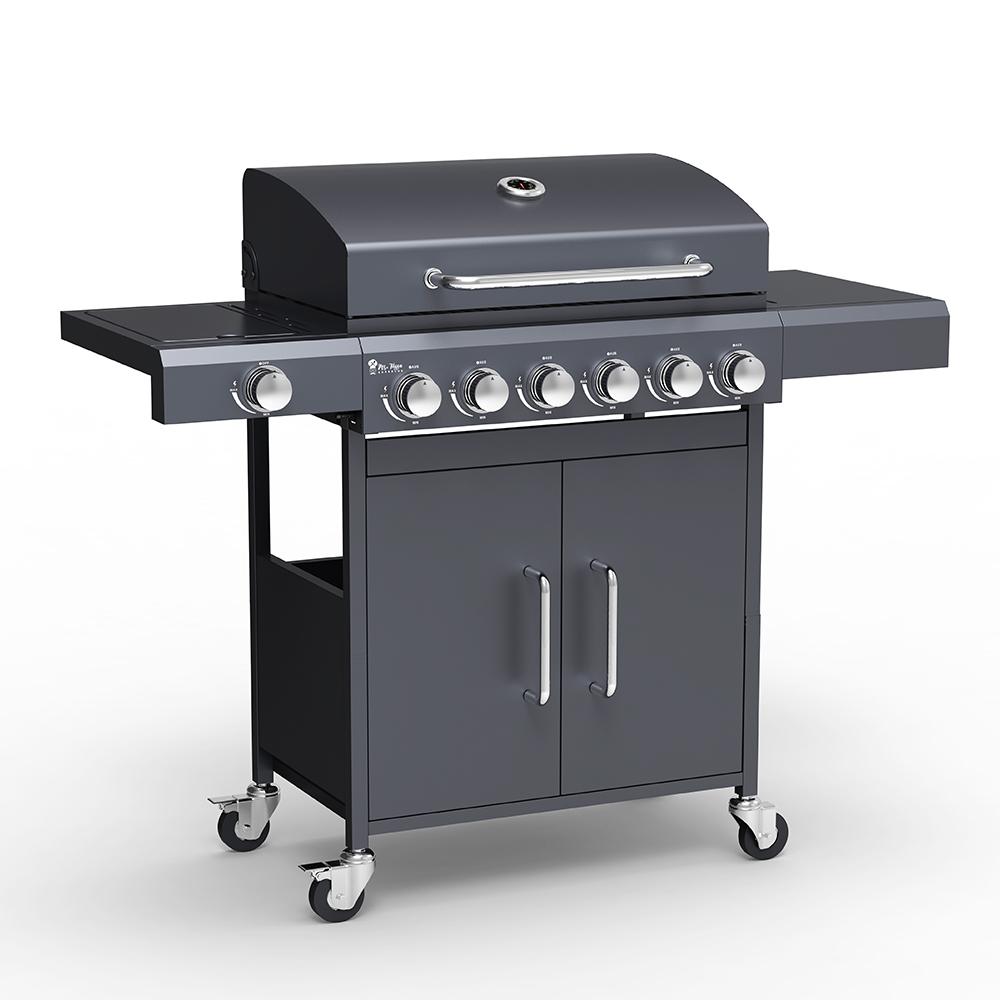 Barbecue gas BBQ acciaio inox 6+1 bruciatori ripiani Creola