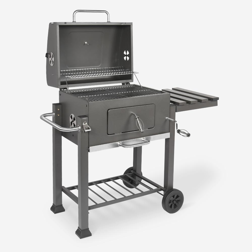 Barbecue a carbonella con ruote tavolino e raccoglitore braci BBQ T-Bone