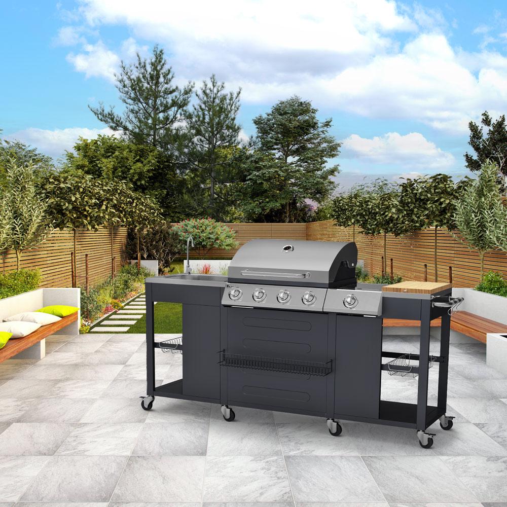 barbecue modulabile a gas lavabo tagliere TARTARA