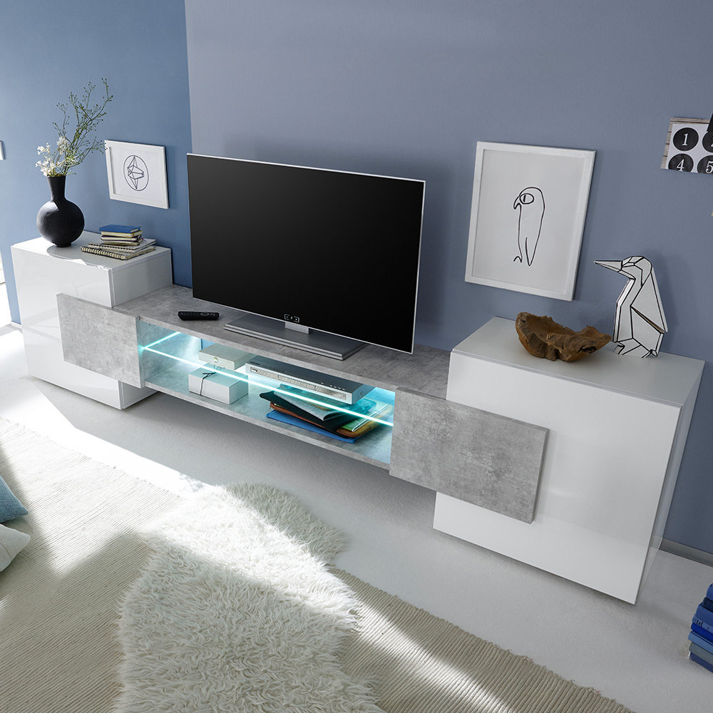 Moderno 2 Ante 1 Vano A Giorno Bianco Lucido Cemento Incastro