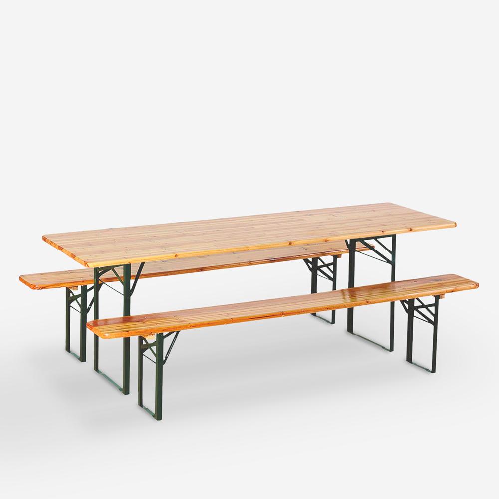 Stock set birreria 8 pezzi tavoli panche pieghevoli in legno 220x80 Oletan
