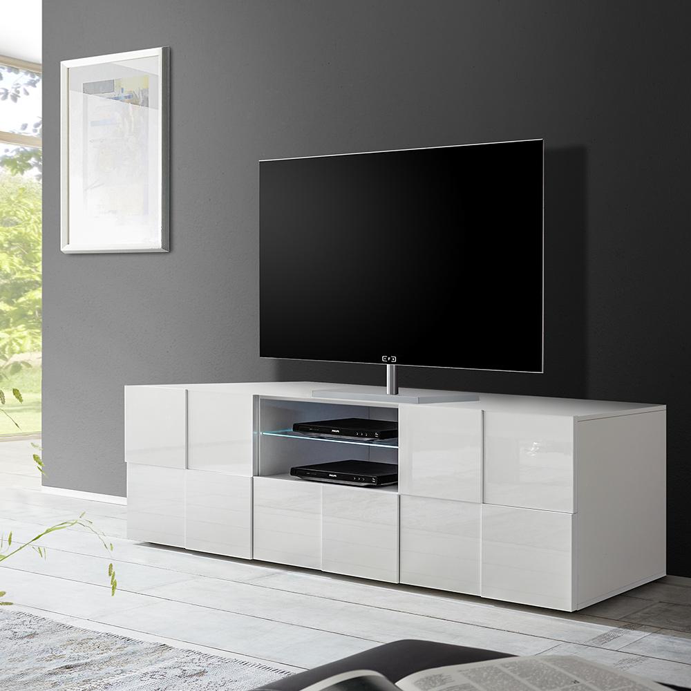 Mobile base porta TV moderno 2 ante vano cassetto scorrevole bianco Dama