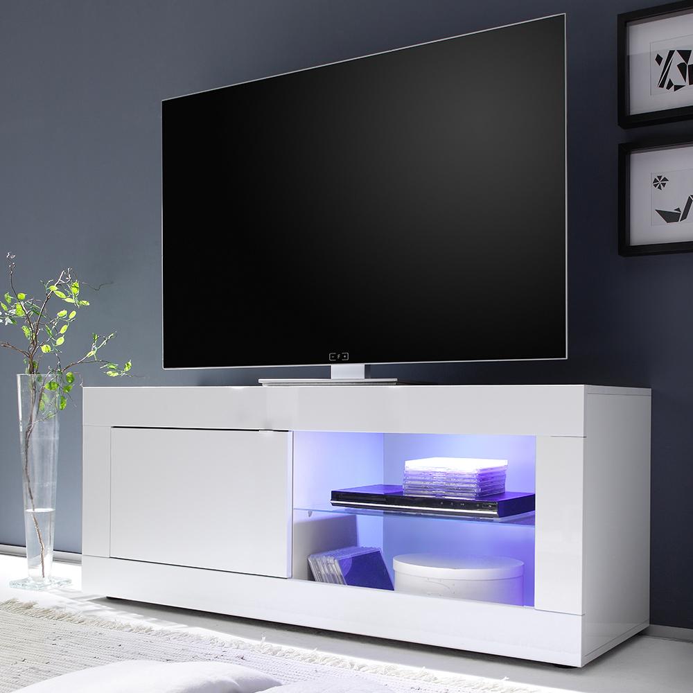 Mobile base porta TV bianco moderno con anta laterale vano a giorno Creta