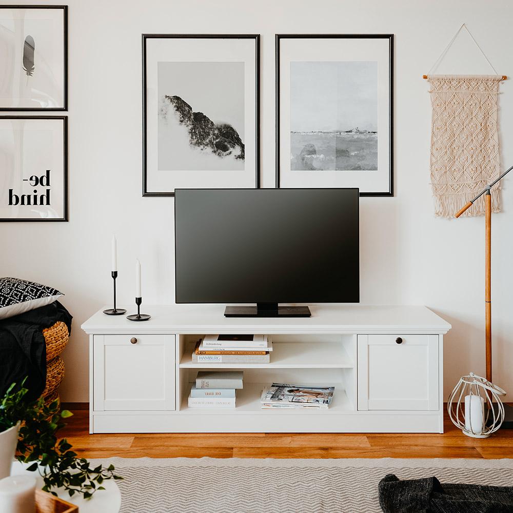 Mobile porta TV basso design rustico bianco 160cm Spinle