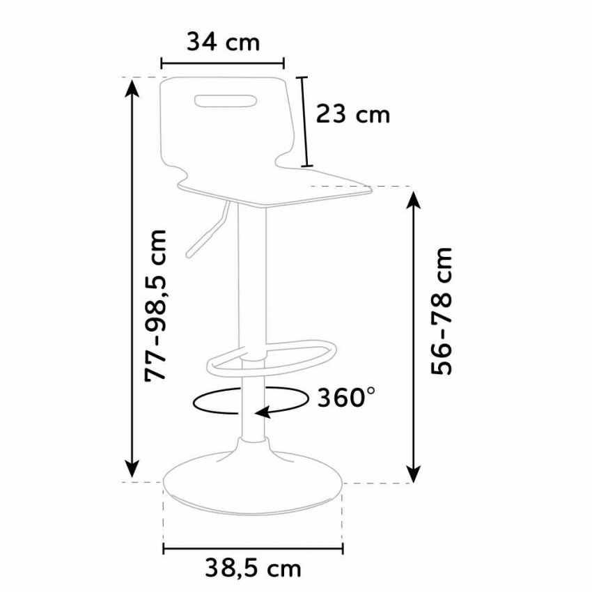 Sgabello per bar e cucina acciaio cromato SAN JOSE Design Moderno - new