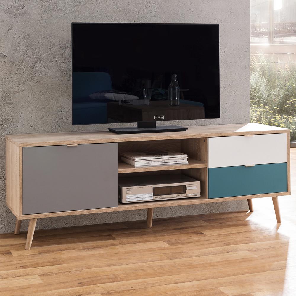 Mobile porta TV design scandinavo 2 cassetti anta vano a giorno in legno Glabas