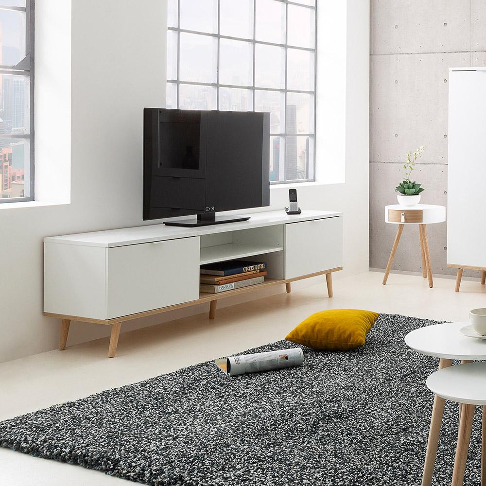 Mobile porta TV bianco design scandinavo 2 ante vano a giorno in legno Ekraan