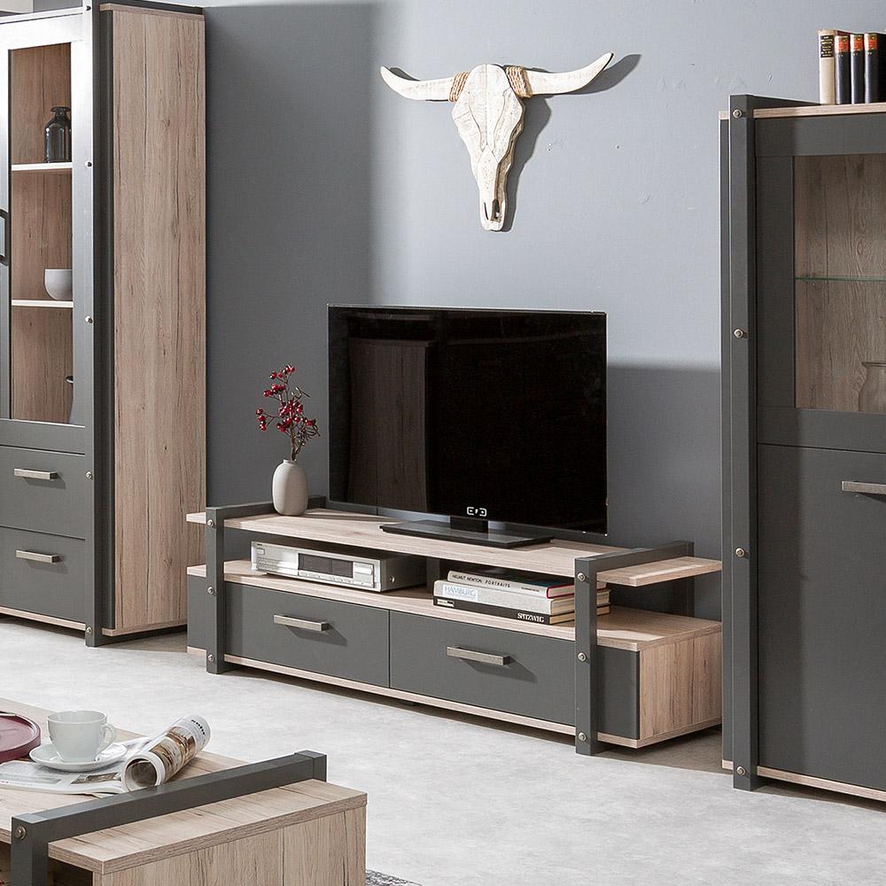Mobile porta TV design industriale 2 cassetti vano a giorno legno metallo Aplinka