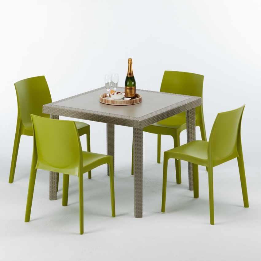 Polyrattan Tisch 90x90.Polyrattan Tisch Quadratisch Mit 4 Bunten Stühlen 90x90 Beige Elegance