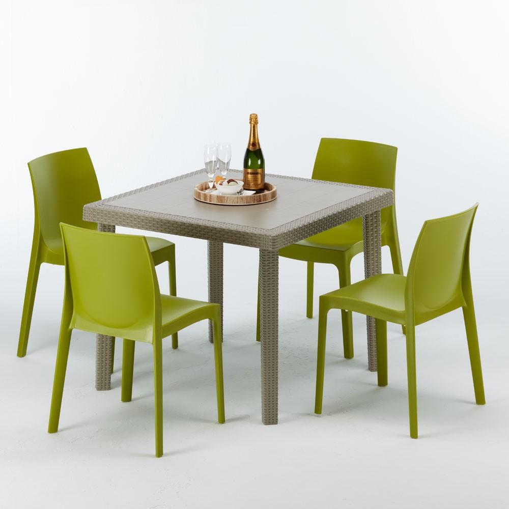 Tavolo Rotondo Simil Rattan Con Sedie Con Inserti  2021