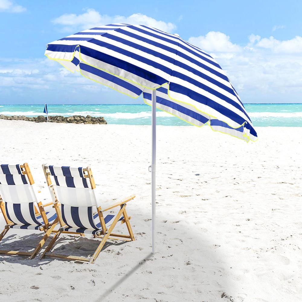 miniature 15 - Parasol de plage 200 cm portable coton Taormina