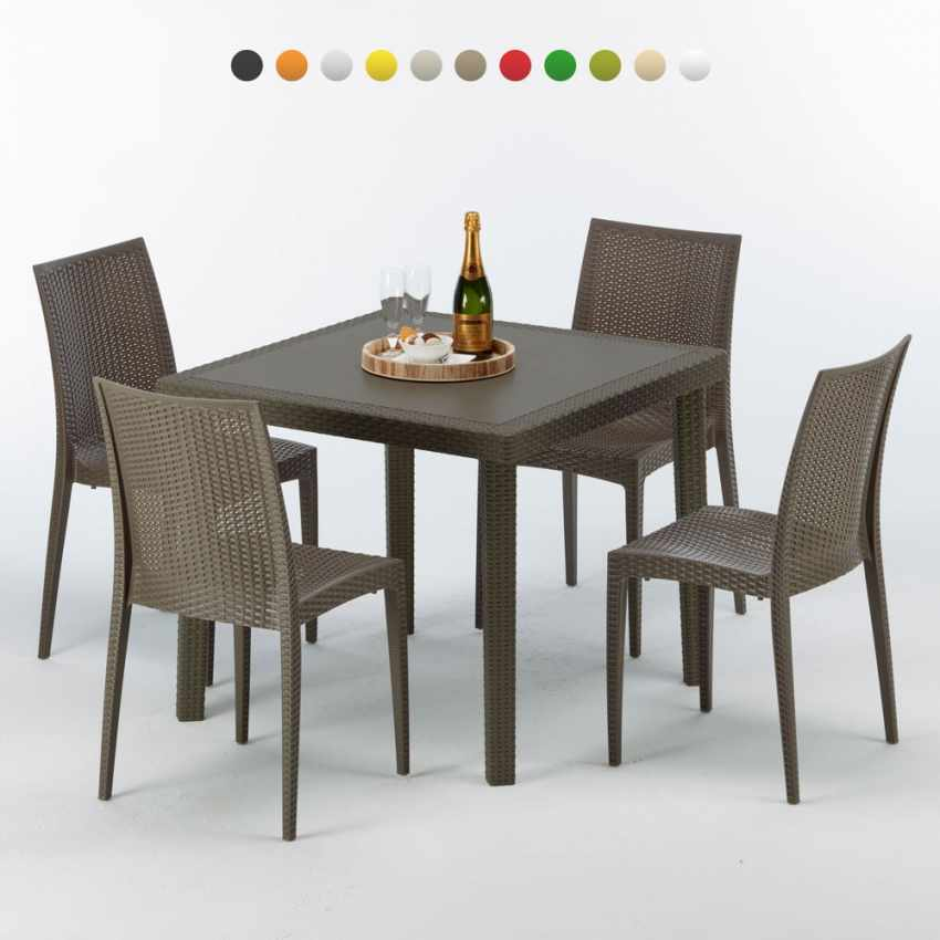 Tavolo quadrato 4 sedie poly rattan colorate 90x90 marrone for Tavolo sedie rattan