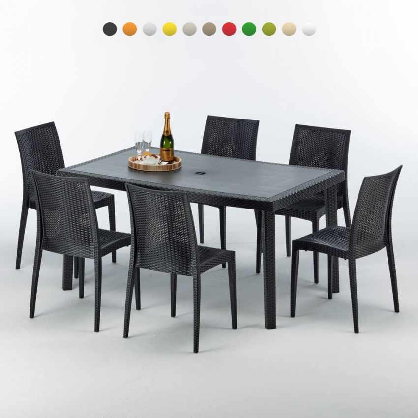 Table rectangulaire et 6 chaises Poly rotin colorées 150x90 noir - arredamento