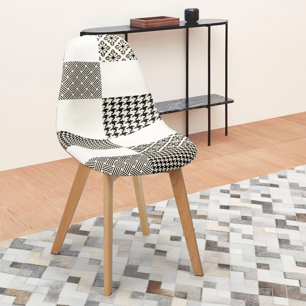 Nordic Design Patchwork Chair In Wood And Fabric For Kitchen Bar Restaurant Robin