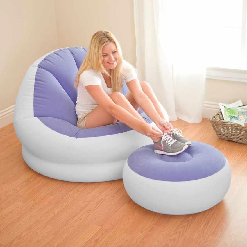 Fauteuil pouf repose-pieds gonflable Intex 68572 salons et séjours - discount