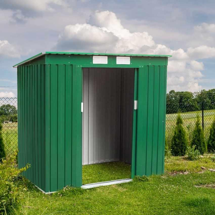Box in lamiera zincata verde casetta giardino attrezzi ripostiglio MEDIUM - discount