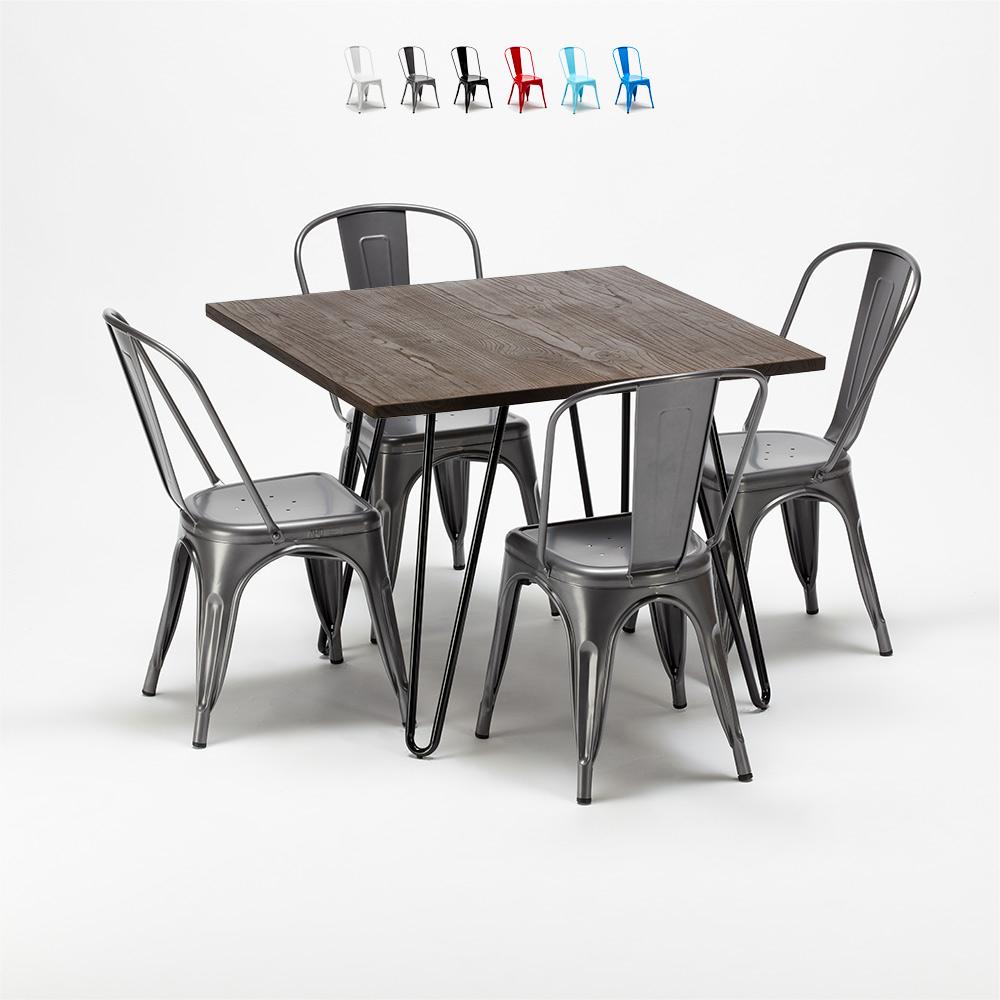 Set tavolo quadrato con 4 sedie in metallo e legno stile tolix industriale Pigalle