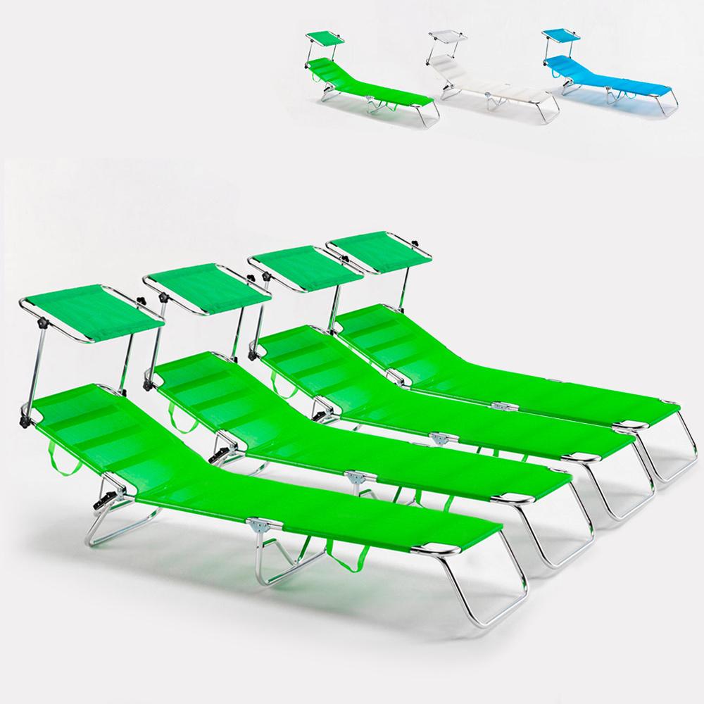 4 Lettini spiaggia mare brandina pieghevole alluminio Cancun