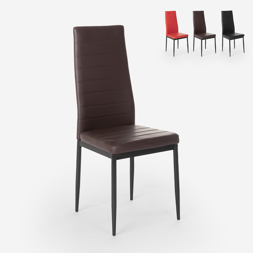 Sedie design moderno imbottita similpelle per sala da pranzo ristorante Imperial Dark