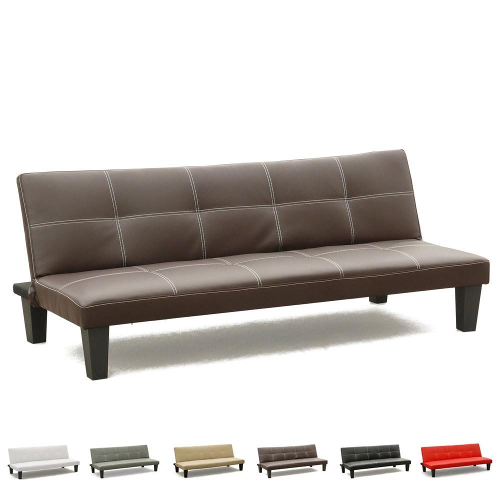 Topazio 3 seat convertible sofa bed made of faux leather ebay - Divano 2 posti economico ...