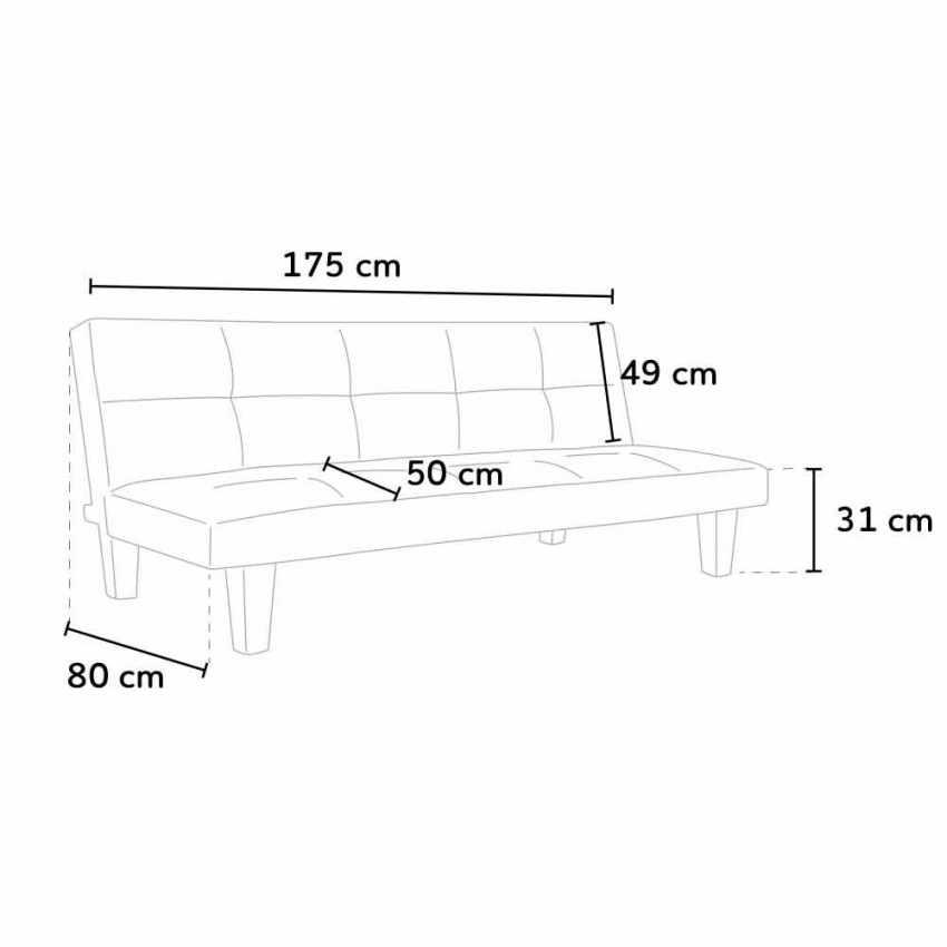 Canapé Clic Clac convertible 3 sièges similicuir économique TOPAZIO - new