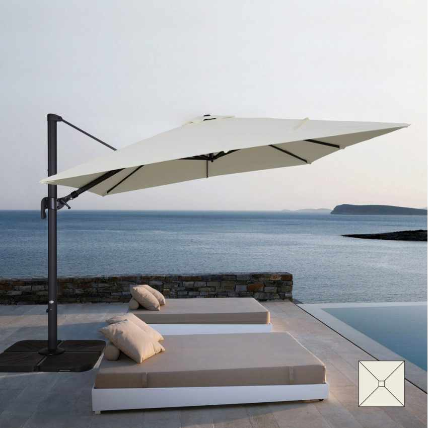 Garden Cantilever Parasol with Fully Adjustable Shade Square 3x3 Canopy VIENNA - outdoor