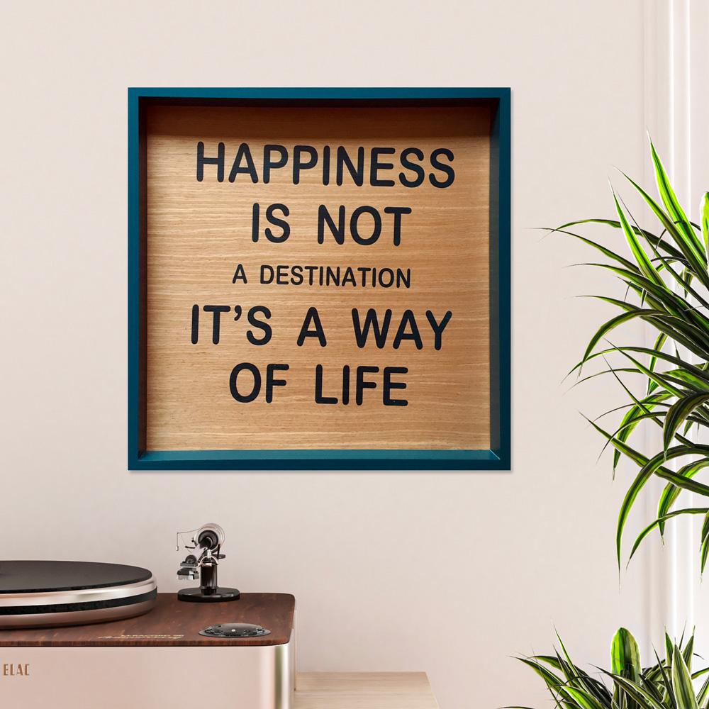 Quadro pannello stampato soggiorno frasi aforismi cornice 40x40cm Happiness