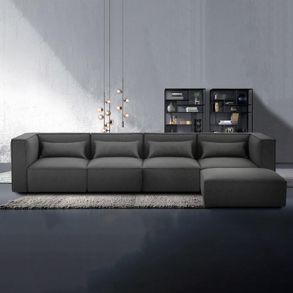 Divano 4 posti modulare componibile moderno in tessuto con pouf Solv