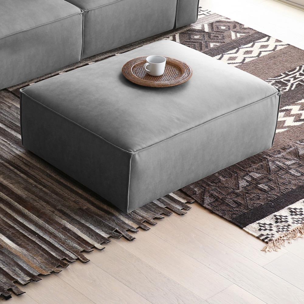 Pouf poggiapiedi rettangolare in tessuto per divano design moderno Solv