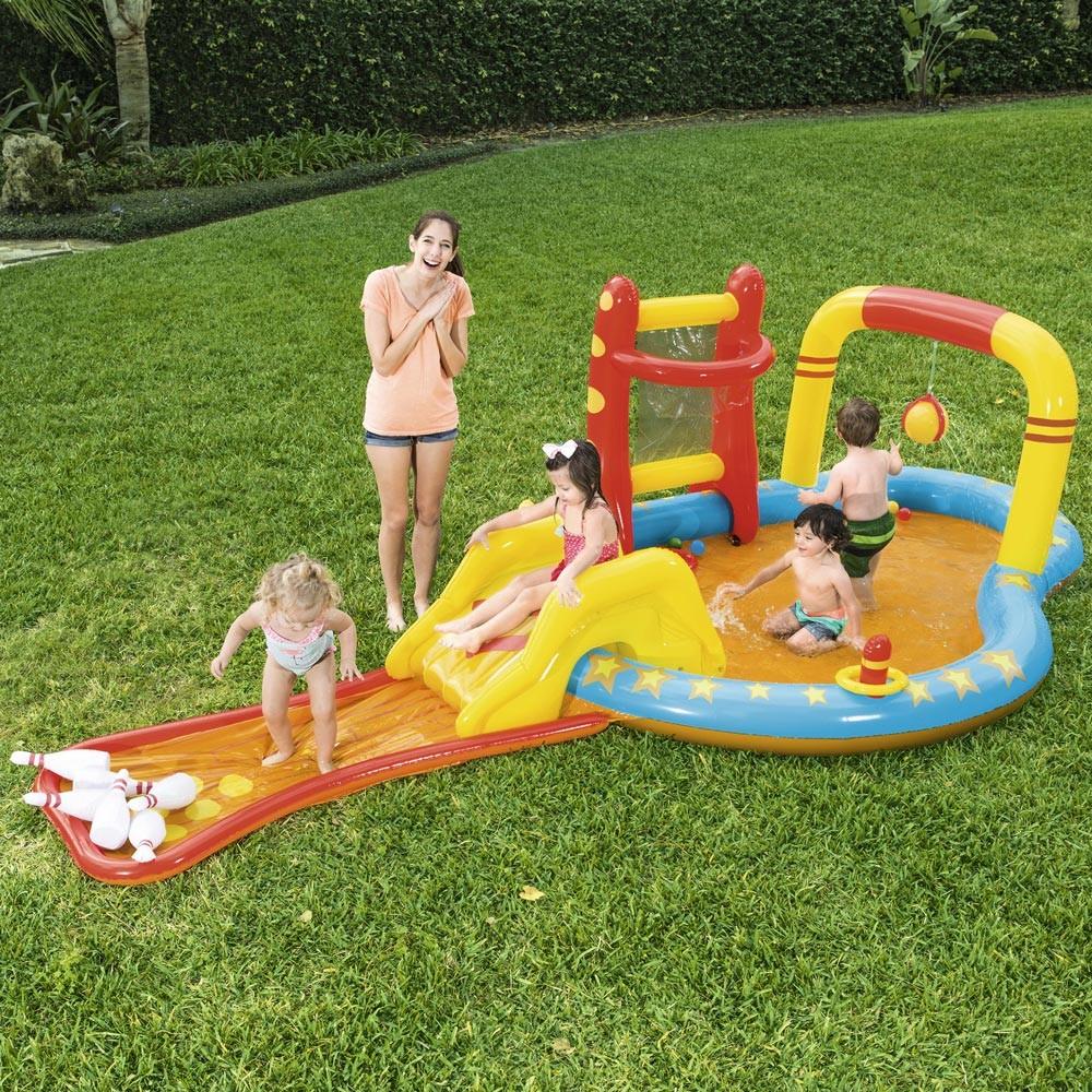 Piscina Gonfiabile Bestway 53068 per Bambini con Giochi Bersagli Scivolo Birilli - Bilder
