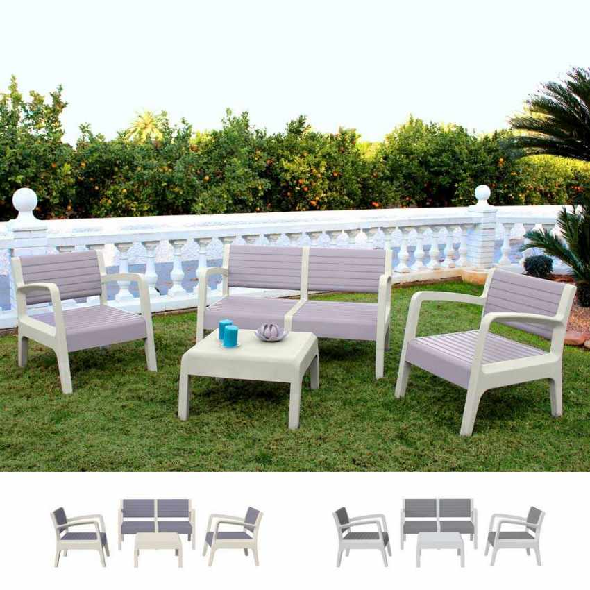 Polyrattan Garden Lounge Set with Sofa Armchairs Table MIAMI - image