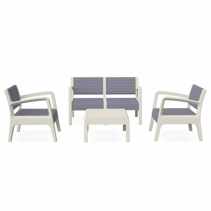 Polyrattan Garden Lounge Set with Sofa Armchairs Table MIAMI - details