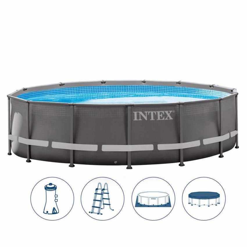 piscine hors sol ronde ultra frame 427 x 107 cm intex. Black Bedroom Furniture Sets. Home Design Ideas