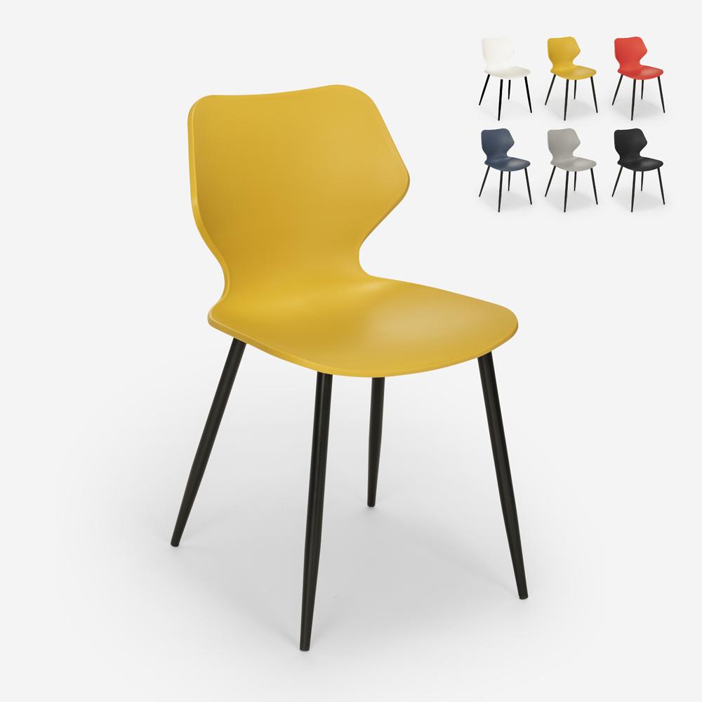 Sedia design moderno polipropilene metallo sala da pranzo ristorante Ladysmith
