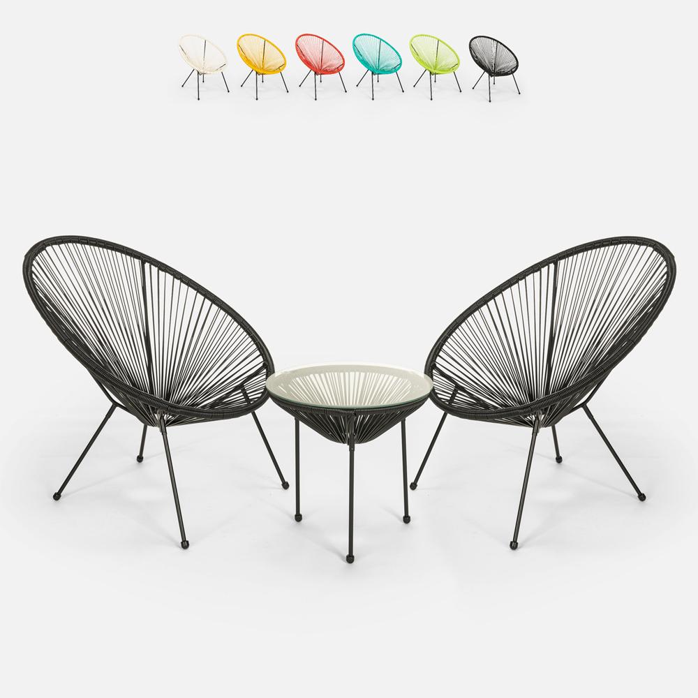 Set esterno giardino Acapulco 2 sedie spaghetti 1 tavolo rotondo 50cm Flaw
